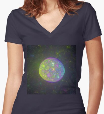 I also have another planet. #Fractal Art Women's Fitted V-Neck T-Shirt