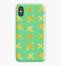 Yellow cross on green iPhone Case/Skin