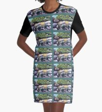 Tree and Boulders Graphic T-Shirt Dress