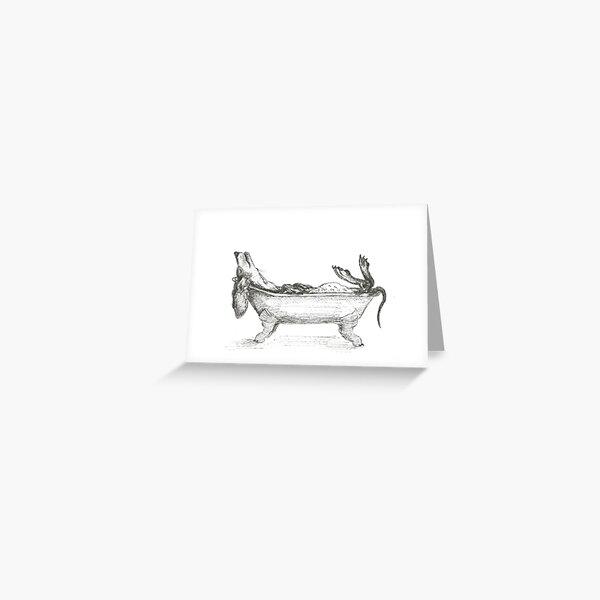 Dachshund in a bathtub illustration, pen and ink Greeting Card