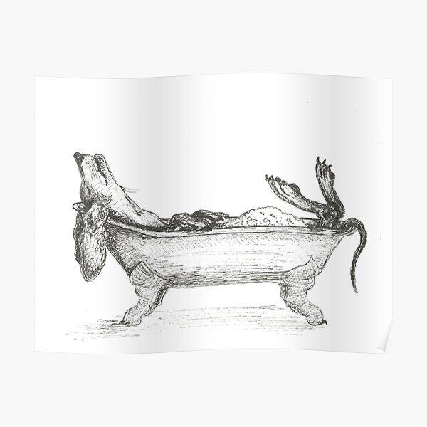 Genießen Sie ein Bad in der Wanne. Mit Feder und Tinte auf Aquarellpapier gezeichnet  von Candy Medusa Poster