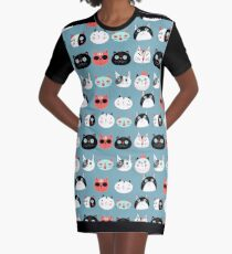 pattern amusing portraits of cats Graphic T-Shirt Dress