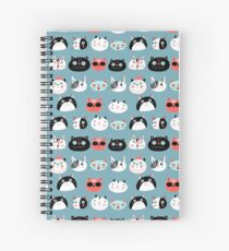 pattern amusing portraits of cats Spiral Notebook