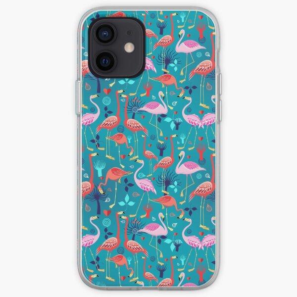 beautiful pattern lovers flamingo iPhone Soft Case