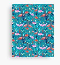 beautiful pattern lovers flamingo Canvas Print
