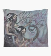 collecting silk from crystal spiders Wall Tapestry