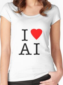 I Love (Heart) Ai Artificial intelligence  Ny parody Women's Fitted Scoop T-Shirt