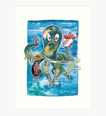 Oktopus Kraken Weihnachten  Kunstdruck