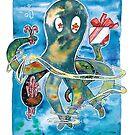 Oktopus Kraken Weihnachten  von farbcafe