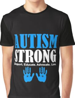 Autism Strong Support white Graphic T-Shirt