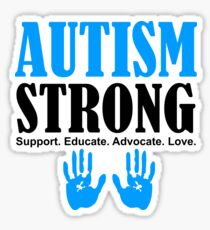 Autism Strong Support black Sticker