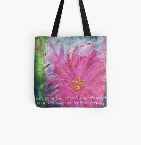 Frühlingserwachen: »pink daisy« Allover-Print Tote Bag