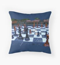 BLACK AND WHITE GEOMETRIC OUTDOOR CHESS BOARD GAME  Throw Pillow