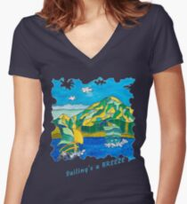 SAILING'S A BREEZE - OCEAN ART Women's Fitted V-Neck T-Shirt