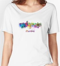 Mumbai skyline in watercolor Women's Relaxed Fit T-Shirt