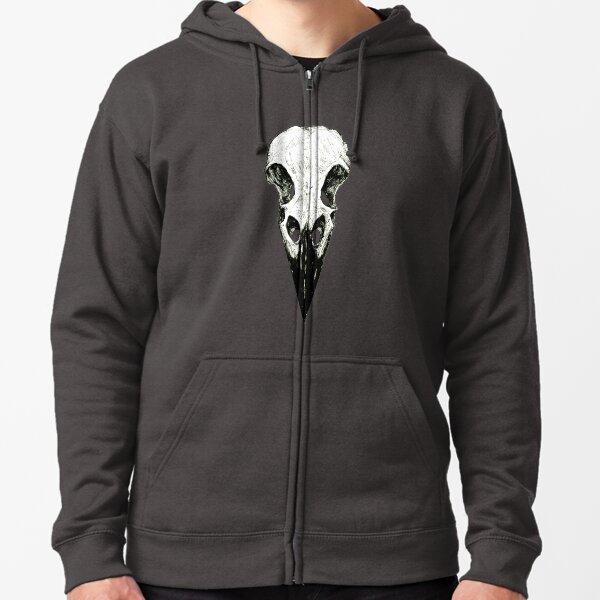Raven Skull Zipped Hoodie