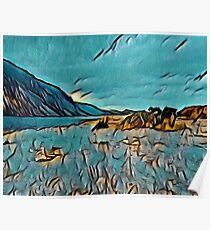 Wast Water in Turquoise Abstract Poster