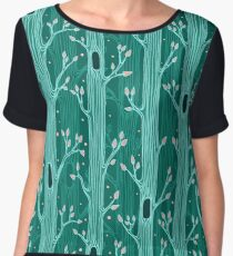 Emerald forest. Seamless pattern with trees Women's Chiffon Top