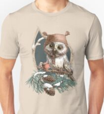 Snow owl in a cute hat Unisex T-Shirt