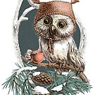 Snow owl in a cute hat by elinakious