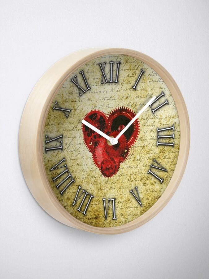 Alternate view of Vintage Steampunk Clock No.5, Vintage Steampunk Clockwork Heart Clock
