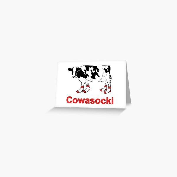 Milk Cow in Socks - Cowasocki Cow A Socky Greeting Card