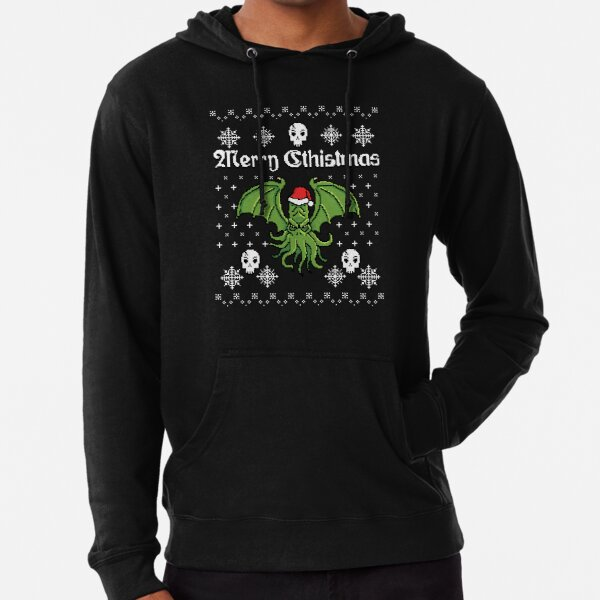 Merry Cthistmas Cthulhu Ugly Christmas Sweater Lightweight Hoodie