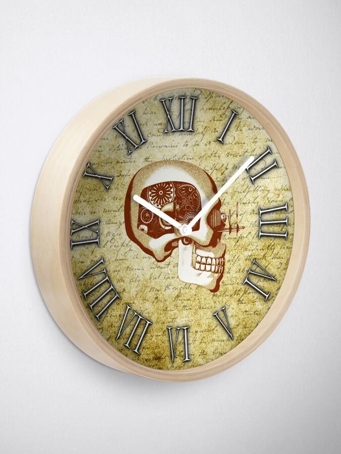 Alternate view of Vintage Steampunk Clock No.6, Steampunk Automaton Skull Clock