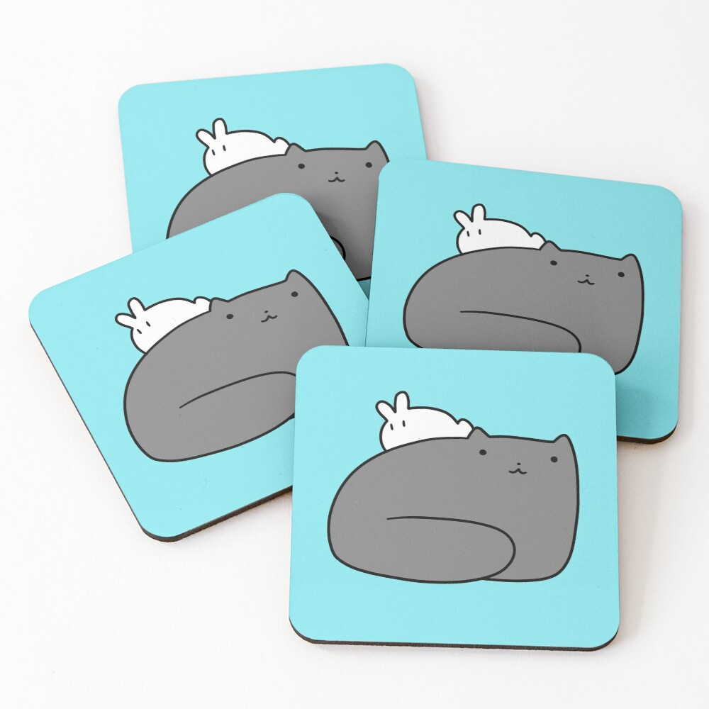 Big Cat and Tiny Bunny Coasters (Set of 4)