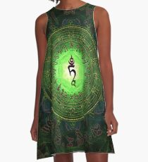 Green Tara Mantra- Protection from dangers and suffering. A-Line Dress