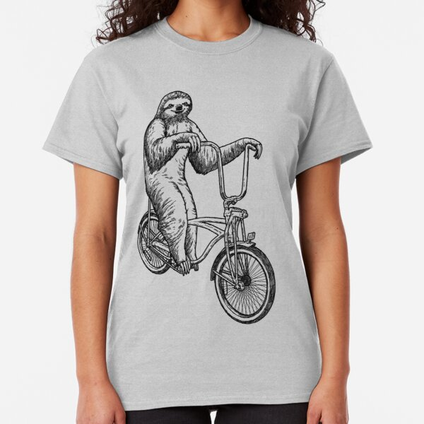 Sloth Riding Bike T-Shirt Bicycle Funny Top Tricycle Tee