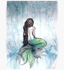Mermaid Watercolor Painting Poster