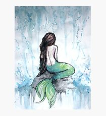Mermaid Watercolor Painting Photographic Print