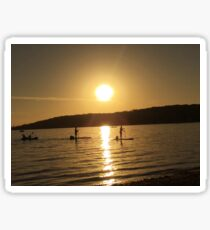paddle boarding at sunset Sticker