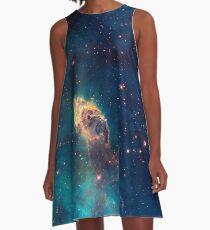 Blue Carina Nebula Galaxy  A-Line Dress