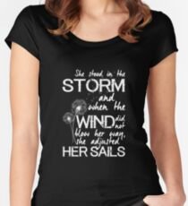 She stood in the storm...beautiful quote (white text) Women's Fitted Scoop T-Shirt