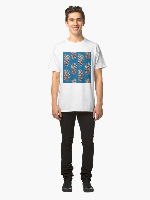 Alternate view of Rose Gold sparkle Pineapples on Teal Classic T-Shirt