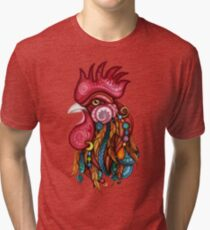 Tribal Rooster Design Tri-blend T-Shirt