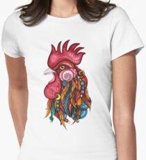 Stammes-Hahn-Design Tailliertes T-Shirt für Frauen