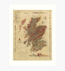 Vintage Geological Map of Scotland Art Print