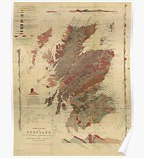 Vintage Geological Map of Scotland Poster