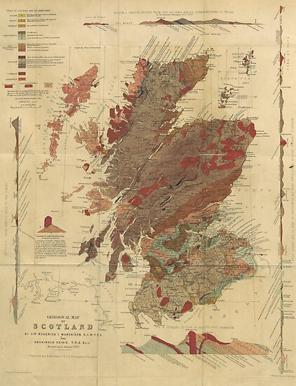 Vintage Geological Map of Scotland by Lost & Found
