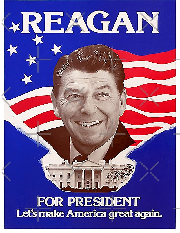 Reagan Bush 39 84 Retro Logo Red White Blue Election Ronald George 1984 84 Posters By