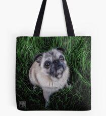 Pug in Grass Tote Bag