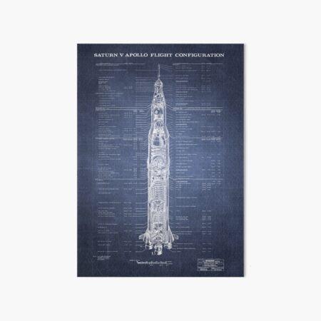 Apollo Saturn V Blueprint in High Resolution (dark blue) Art Board Print