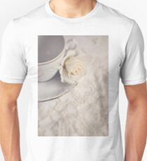 Cream Rose, Lace, and China Cup. T-Shirt