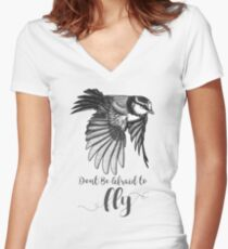 Don't Be Afraid To Fly by K80designs Women's Fitted V-Neck T-Shirt