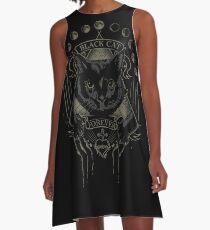 Schwarze Katze Kult A-Linien Kleid