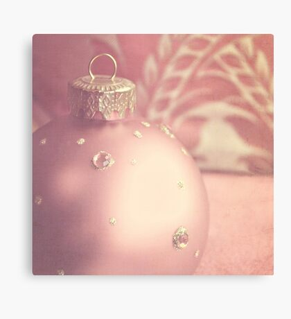 Pink and gold ornate Christmas bauble Canvas Print
