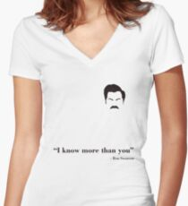 I know more than you. Women's Fitted V-Neck T-Shirt